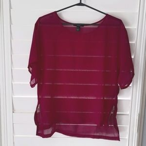 Purple chiffon forever 21 top with zipper detail